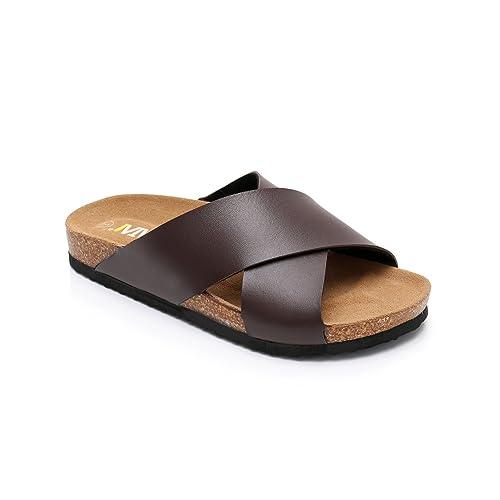 ed5c2bbecc4b24 Women Open Toe Criss-Cross Strap Slide Cork Sandals Roman Slippers Suede  Leather Sole Summer