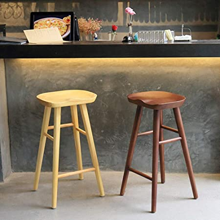 Liuxiaomiao Bar Stools Chairs Kitchen Counter Bar Breakfast Barstool Coffee And Natural Wood Colour For Counter Pub Kitchen For Kitchen Bar Counter Pub Color Coffee Size 55cm Amazon Co Uk Kitchen