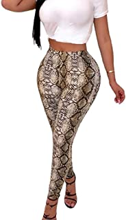 Women Basic High Waist Serpentine Print Legging Stretch Club Long Pant 1 Large