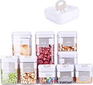 DRAGONN 9 Piece Airtight Food Storage Container Set with Labels, Pantry Organization and Storage, Keeps Food Fresh, Big Si...