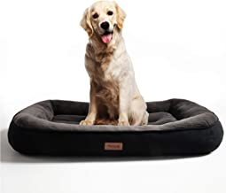 Bedsure Plush Dog Bed Extra Large- Machine Washable Pet Bolster Bed for Large Dogs Up to 45 KG, Black, 110x76x18cm