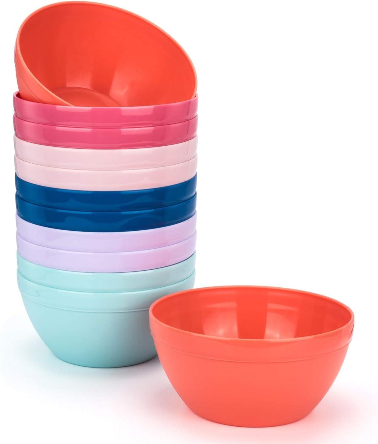 Unbreakable 30-ounce Plastic Bowls Salad Bowls Cereal Bowls - Dishwasher safe, BPA Free (12, Multicolor)