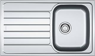 Franke Spark SKL 611 Edelstahl Küchenspüle Spültisch Spülbecken Einbauspüle mit 1 Becken und Abtropffläche Textur Leinen, Grau