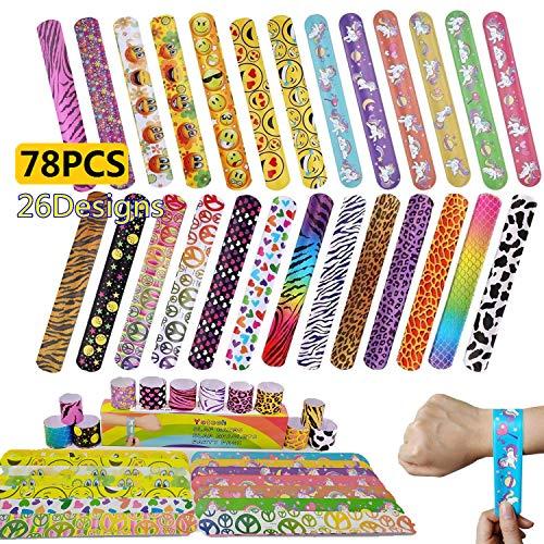 Yetech 78 Pezzi Braccialetti per Bambini, Braccialetti Slap Ragazzi e Ragazze Birthday Party Supplies Favors Toys, bomboniere per Bambini