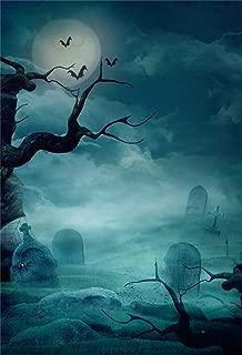 Yeele Halloween Backdrop Blue Mist Graveyard Terror Scene Full Moon Night Raven Photography Background 3x5ft Halloween Photos Selfie Portrait Holiday Party Photoshoot Props Wallpaper