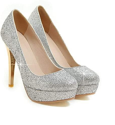KTLZ High Heels Herbst und Winter-Absatz-Plattform-Superabsatz Low Pailletten PU-Material Damenschuhe einzelne Schuhe Hilfe, Silber 9CM-43EU