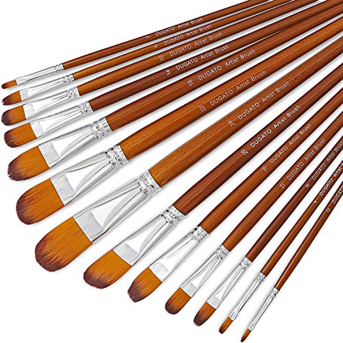 Artist Filbert Paint Brushes Set 13pcs, Soft Anti-Shedding Nylon Hair Wood Long Handle for Acrylic Oil Watercolor Gouache Paint by Numbers (13pcs)