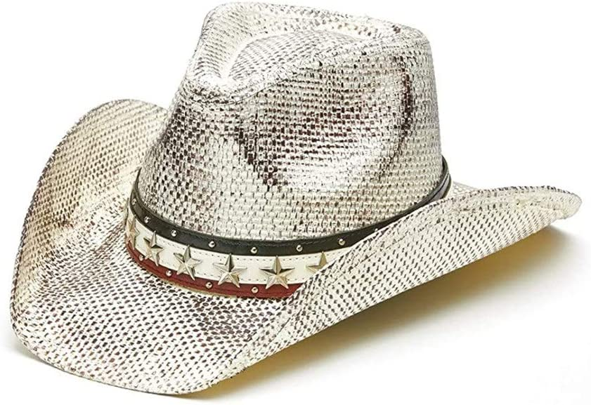 100% quality warranty! LHZUS Hats Women Straw Cowboy Hat Decorative Metal Sum Year-end annual account with Brim