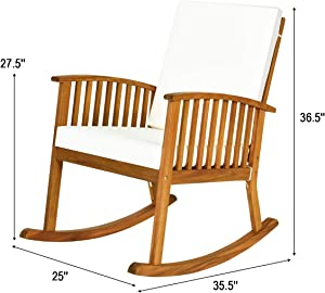 Tangkula 2 PCS Outdoor Acacia Wood Rocking Chair, Wooden Rocker w/Detachable Washable Cushions, Rocker for Porch Garden Patio Balcony Pool Indoor (2, Teak)