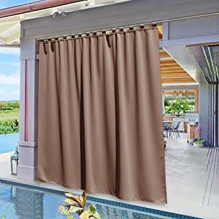 NICETOWN Patio Outdoor Curtain Panel Extra Wide, Vertical Blinds Thermal Insulated Tab Top Blackout Slider Drape for Outside Lounge/Balcony/Lounge (Tan, Single Panel, 100 x 84 inch)