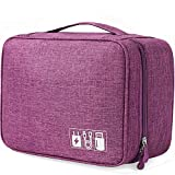 Electronics Travel Organizer Storage Bag Waterproof Carrying Case - Cable Organizer Electronics Accessories Cases for iPad Mini Cables Phone Chargers Adapter Flash Hard Drive, USB and More – Purple