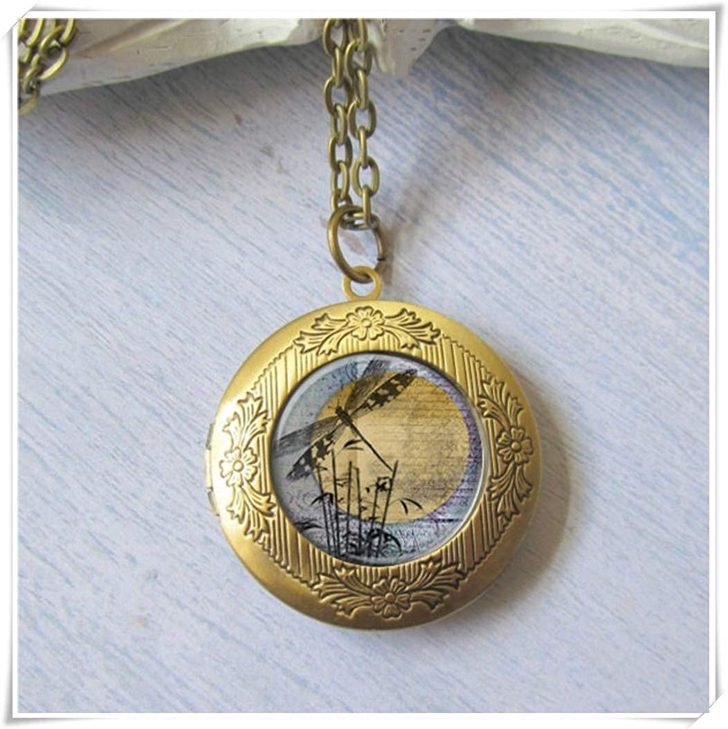 beautiful beautiful girl Dragonfly Necklace, Dragonfly Moon Pendant, Photo Locket,Pure Hand-Made