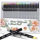 Bolígrafos de acuarela, bolígrafos Ohuhu de 24 colores + 1 bolígrafo de agua, puntas suaves para...