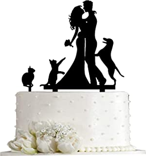 Kissing Bride and Groom with Cat and Dog Silhouette Wedding Acrylic Cake Topper (Black)