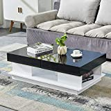 HomeSailing Modern Black High Gloss Coffee Table with 2 Storage Drawers Living Room Large Sofa End Table Wood Frame Rectangular for Office Waiting Reception Furniture