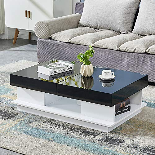 BOJU 3FT Modern High Gloss Coffee Table Black with Storage Cabinet Drawers Living Room Large Coffee Table MDF Sofa End Tea Table for Reception Waiting Area Furniture