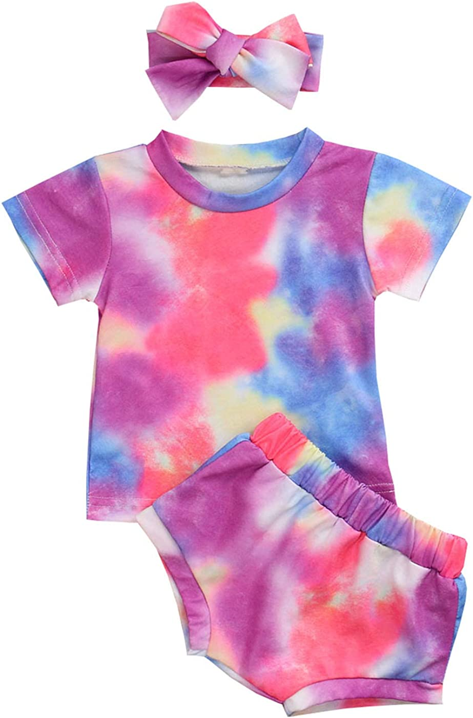 Toddler Baby Girl Tie-Dye T-Shirt Short Sleeve Top and Short 3PCS Tie-Dye Shorts Set Summer Clothes
