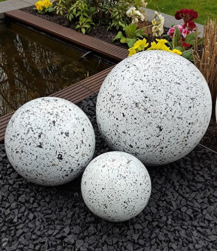 garten-wohnambiente Dekokugel 3er Set 20-15-10 cm Edelstahl Granit Weiss Kugel Dekorationskugel