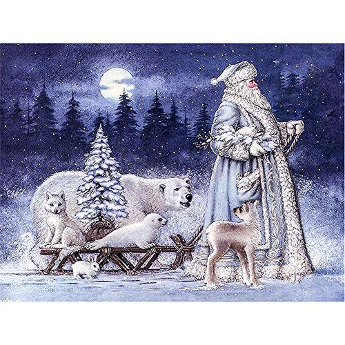 5D DIY Diamond Painting Kit Quadratischer Strass Bear and Santa Kreuzstich für die Wanddekoration-Square Drill,90x120cm