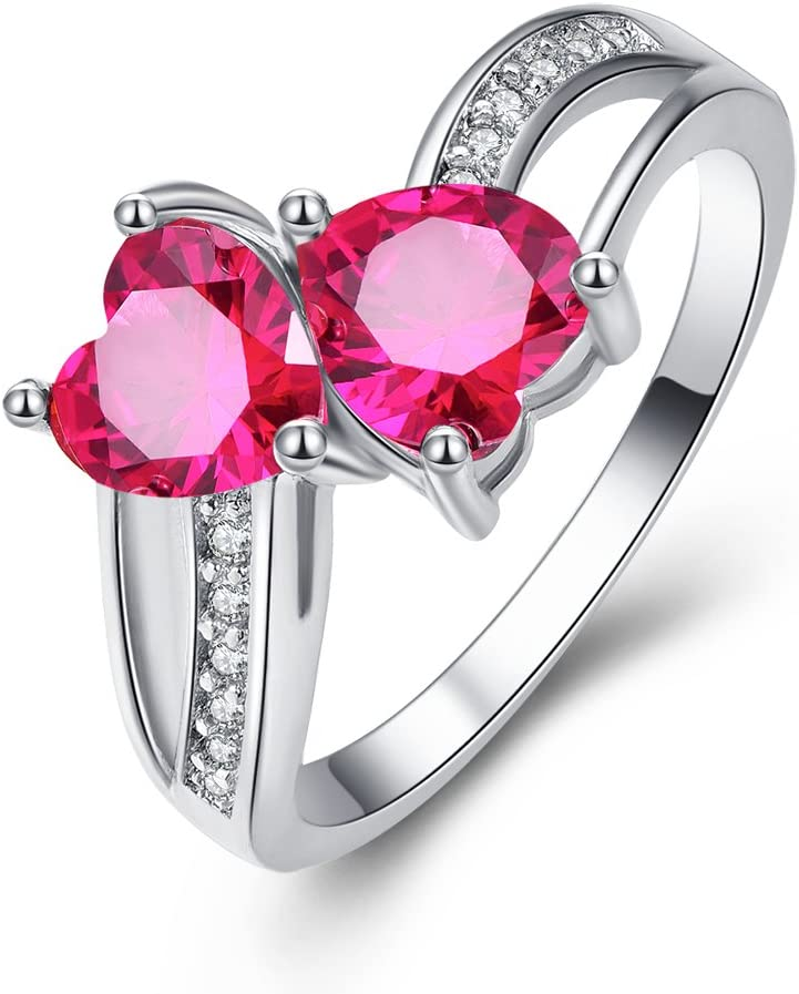 2021 model Emsione Vintage 925 Sterling Silver Bombing free shipping Plated CZ Double Heart Halo