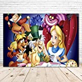 Alice in Wonderland Cartoon Backdrop 7x5ft Vinyl Photoraphy Background Tea Party Table Decor Princess Alice Photo Backdrop for One Year Old Birthday Party
