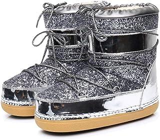 JOYBI Women Warm Platform Snow Boots Round Toe Comfortable Flat Glitter Non  Slip Lace Up Winter 8b27650dbddc