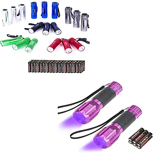high quality EverBrite 18-pack Mini LED Flashlight Set, new arrival Includes Lanyard & 54 discount x AAA Batteries+UV Blacklight Flashlights 2-Pack, for Pets Urine and Stains Detector 6 Batteries Included online