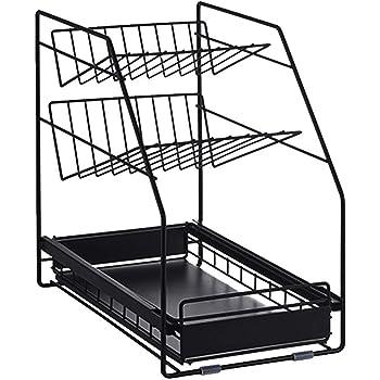 シンク下 スライドラック3段 多機能のキッチン収納 スライド式 ステンレス棚 スパイスラック バスラック 浴室 タワー おしゃれ 40x25x39cm 黑