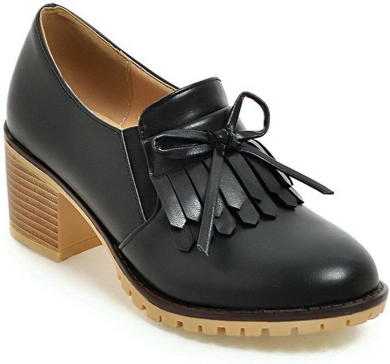 BalaMasa Womens Tassels Chunky Heels Bows Urethane Oxfords shoes