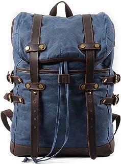 Zzyff La Moda De Gran Capacidad Encerado Lona Impermeable Bolsa De Viaje Mochila Mochila Mochila De Ocio Al Aire Libre Impermeable De Los Hombres (30 * 11 * 45cm) (Color : Blue)