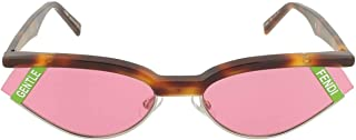 Fendi GENTLE Fendi No. 1 FF 0369 086 Havana Plastic Cat Eye Sunglasses Pink Lens