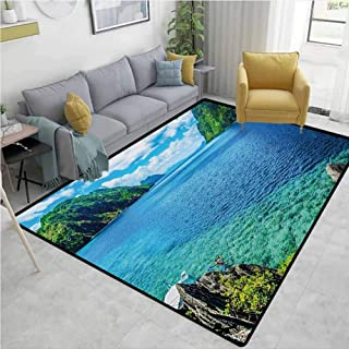 Nature Living Room Rugs Scenic View Sea Bay and Mountain Islands in Palawan Philippines Idyllic Image Mildew Proof W55 x L78 Blue Green White