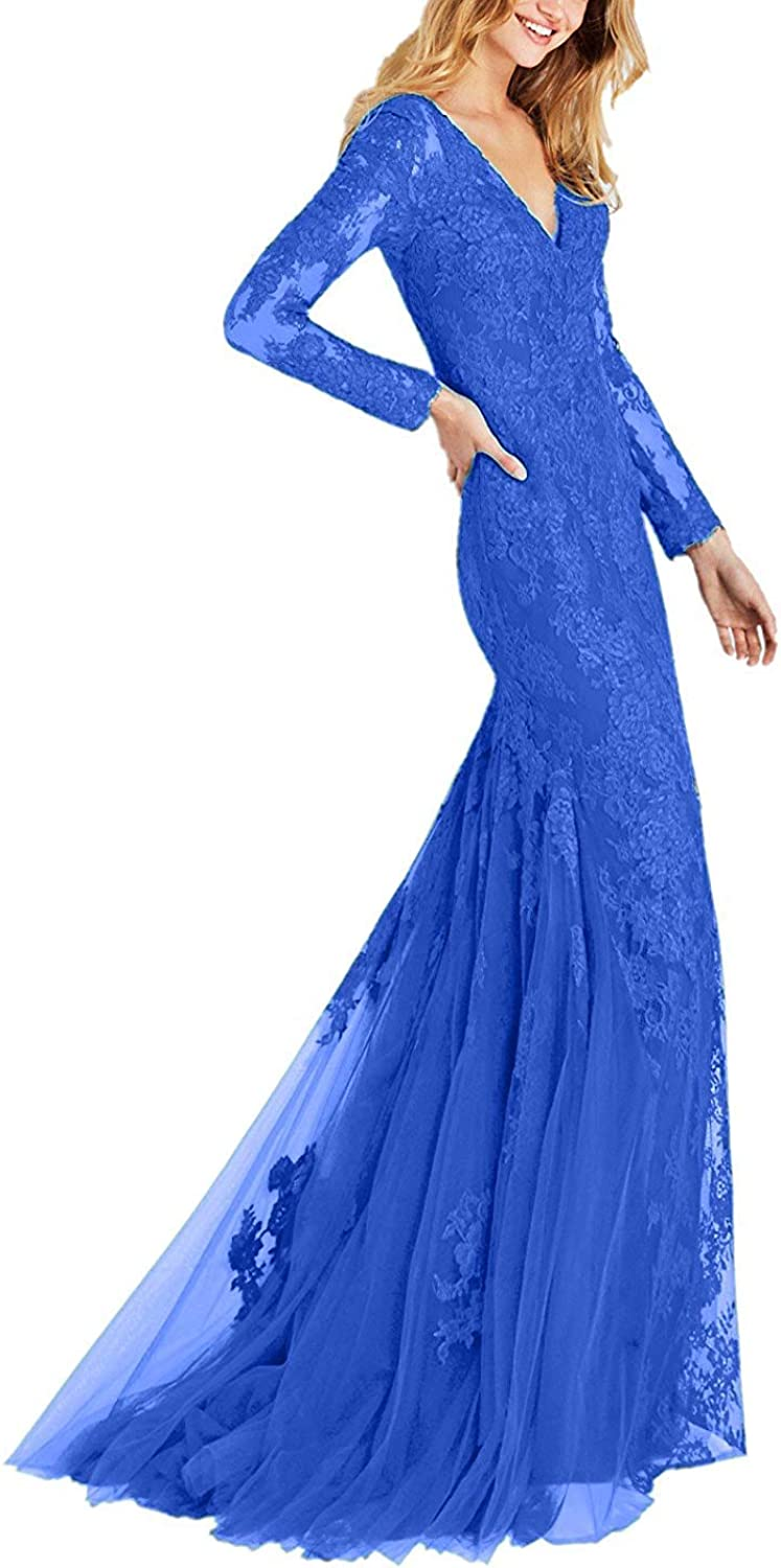 Tutu.vivi Women's VNeck Lace Mermaid Prom Dresses Long Sleeve Evening Formal Gowns 2019