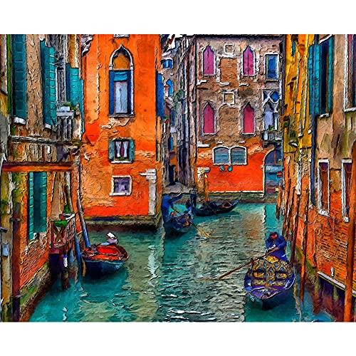 Pintar por Números Kits,Pintar por Numeros para Adultos Niños Venecia ciudad del agua DIY Conjunto Completo de Pinturas para el Hogar Decoraciones-Without_Framed_60x75cm E761