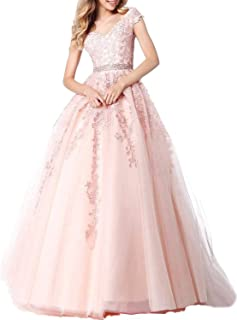 Women's V-Neck Tulle Lace Ball Gown Prom Dresses Long Appliques Quinceanera Dress