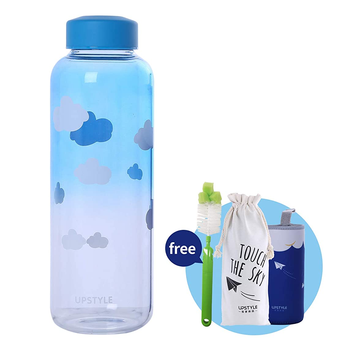 マディソンこしょう追加するUPSTYLEエコガラスウォーターボトルカラフルなBPAフリーポータブルスポーツボトルワイドマウスリークプルーフリッド搾乳ジュースボトルジュース/スムージー/エッセンシャルオイル (1000ml青空)