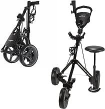 Caddymatic Golf X-TREME 3 Wheel Push/Pull Golf Cart with Seat Black