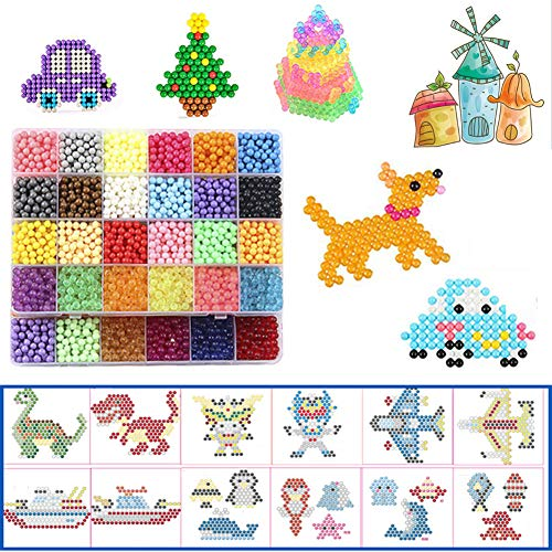 DWcouple Abalorios Cuentas de Agua, 6200 PCS 30 Colores Craft Sticky Beads para Niños DIY Crafting Juguetes Educativos de Bricolaje Craft Sticky Beads Kit Set
