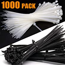 Grtard Nylon Zip Ties (BULK PACK OF 1000) 8 Inch Cable Ties in Black and White - 50lb Strength Tie Wraps - Perfect for Tying Cables, Wires, Organization, and So Much More