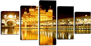 """5 Piece Sikh Canvas Wall Art Golden Temple at Amritsar Painting India Pictures Dawn Mirror View Poster Prints Artwork Home Decor for Living Room Bedroom Office Framed Ready to Hang (60""""Wx32""""H)"""