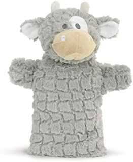 DEMDACO Comet The Cow Soft Grey White 12 inch Polyester Fabric Stuffed Plush Puppet