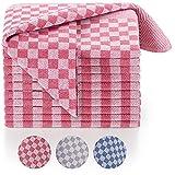 Blumtal Set de 10 paños de Cocina Premium - Paños de Cocina Gran tamaño 50x70 cm, 100% algodón, Certificado Oeko-Tex, Cuadros Rojos