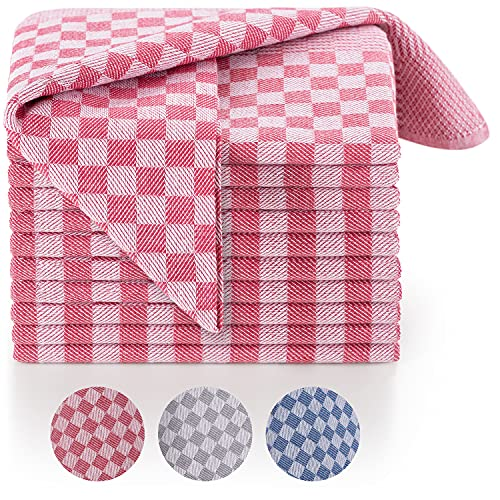 Blumtal Set de 10 paños de Cocina Premium - Paños de Cocina Gran tamaño 50x70 cm, 100% algodón, Certificado Oeko-Tex®, Cuadros Rojos
