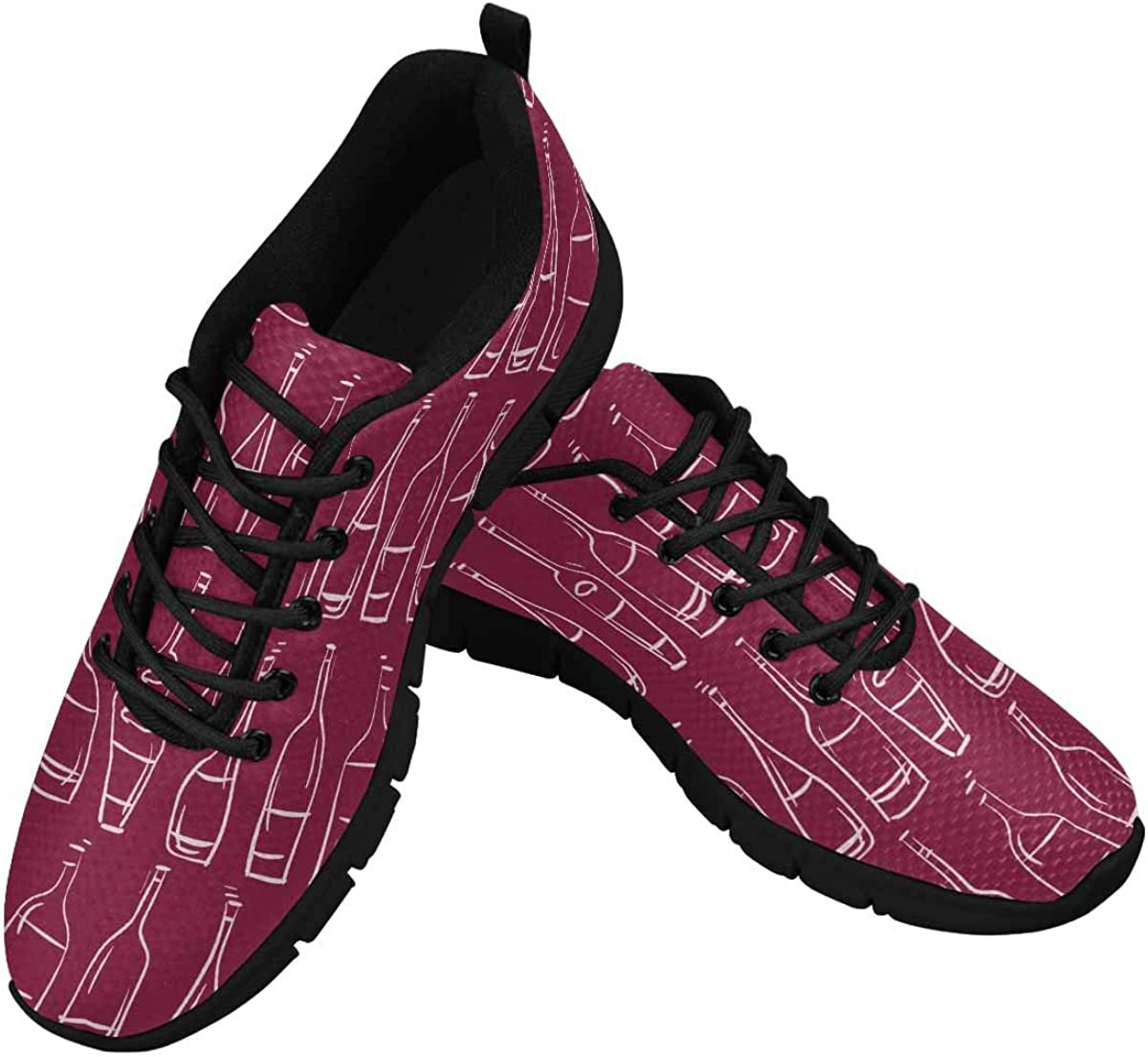INTERESTPRINT Hand Drawn Wine Bottles Women's Athletic Mesh Breathable Casual Sneakers