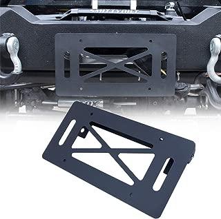 BESKE Flip-Up License Plate Holder for Winch Black Front License Plate Frame License Holder for Jeep Wrangler TJ YJ JK JKU JL