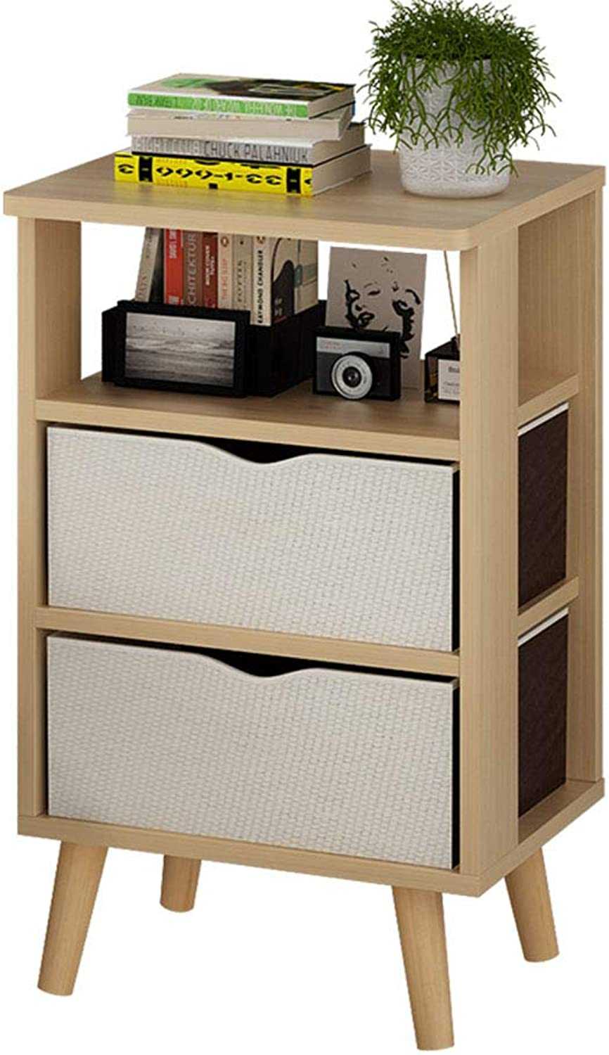 XIAODONG Nordic Style Bedside Table Side Table Locker with 2 Cloth Drawer,37 x 27 x 61CM. Easy to Move (color   Wood color)