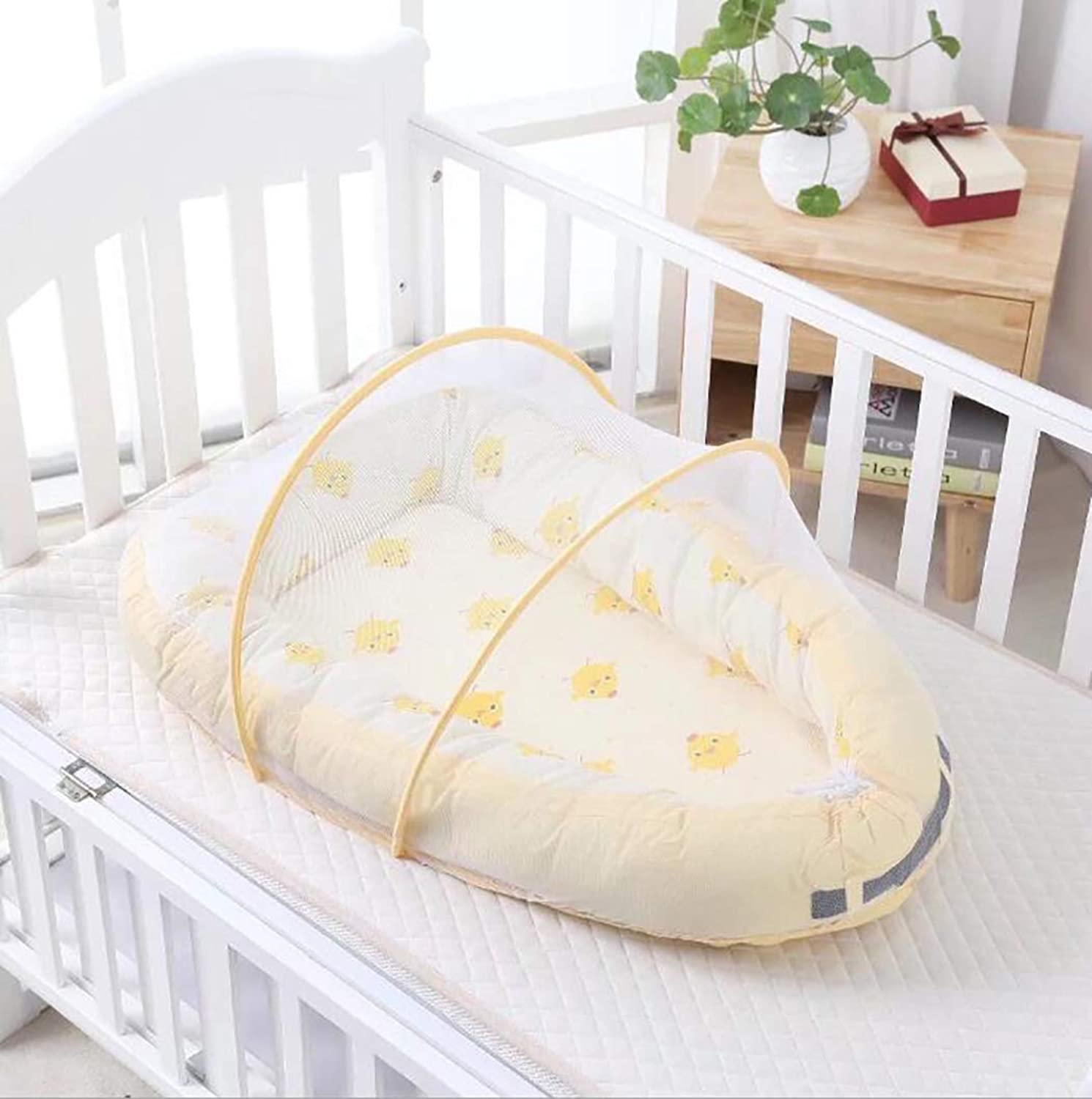 Baby Travel Bed,Baby Bed Portable Folding Baby Crib Mosquito Net Portable Baby Cots Newborn Foldable Crib,Beige