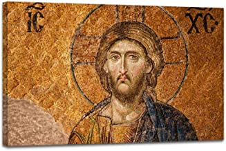 YOOUKEI Mosaic of Jesus Christ Byzantine Arts and Pictures Art Canvas Print Vintage Painting Poster Home Decor Wall Art Prints Living Room Decoration 24