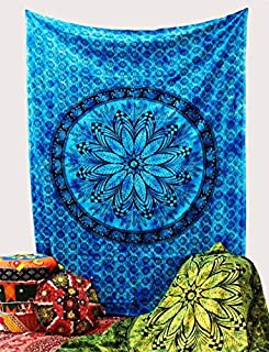 The Indian Craft Mandala Tapestry Wall Hanging - Floral Bohemian Elephant Decorative Tapestries Hippie Living Room Decor Great Home Decoration - Blue - 84 X 54 Inches