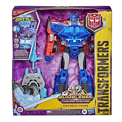 Transformers E8380 Bumblebee Cyberverse Adventures Battle Call Officer Optimus Prime, stimmenaktivierte Lichter und Sounds